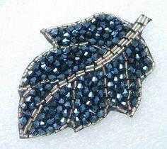 Leaf Crystal Beaded Motif Trendy Jewelry Gun-black - Click Image to Close Tambour Beading, Tambour Embroidery, Bead Embroidery Patterns, Bead Embroidery Jewelry, Hand Embroidery Designs, Ribbon Embroidery, Trendy Jewelry, Jewelry Art, Beaded Jewelry