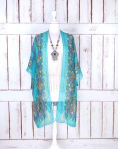 Navy blue/rust brown/gold tribal bohemian print sheer silk kimono ...