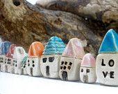 A set of 5 tiny rustic houses - Cottage miniature ceramic houses Home decoration Collection  Little houses Elitett tbteam