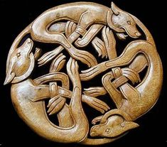 Celtic Wood Carving Running Dogs