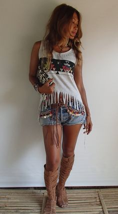 Grey Native American Style Top with Colorful Beaded Fringe and Tie Dye Design. Fringe Decorated with Colorful Matching Beads. Spandex/Cotton Blend. One