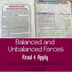 Balanced and Unbalanced Forces Reading Comprehension Interactive Notebook Activity - Includes net force, explanations, and examples.