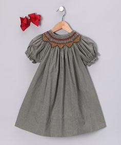 Grey Short-Sleeve Bishop Dress by Rosalina