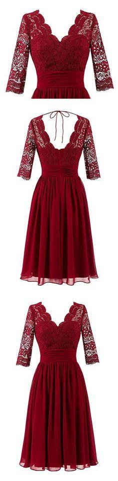 Short Bridesmaid Dress, Tulle Bridesmaid Dress, Half Sleeve Bridesmaid Dress, A-Line Bridesmaid Dress, Lace Bridesmaid Dress, Knee-Length Bridesmaid Dress, LB0537