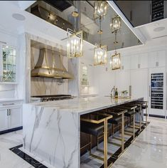 Kitchen Island Decor, Diy Kitchen Cabinets, Home Decor Kitchen, Kitchen Interior, New Kitchen, Luxury Kitchen Design, Luxury Kitchens, Kitchen Canopy, Open Plan Kitchen Living Room