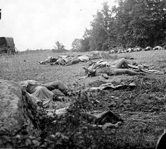 Dead soldiers in the wheat field near Emmittsburg road at Gettysburg. Photographed by Alexander Gardner circa July 1863. #civilwar