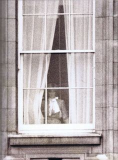 1981-02-24 Diana looks out of a window at Buckingham Palace prior to the engagement photoshoot