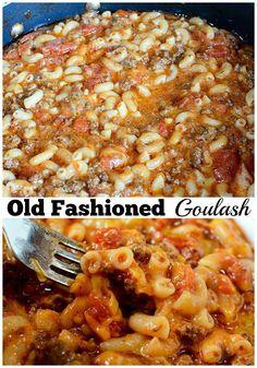 Old Fashioned Goulash! Old Fashioned Goulash! Old Fashioned Goulash! pasta recipes dinner recipes for family recipes recipe recipes Easy Hamburger Casserole, Casserole Recipes, Pasta Recipes, Dinner Recipes, Cooking Recipes, Oven Recipes, Shrimp Recipes, Casserole Dishes, Crockpot Recipes