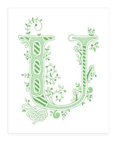Hand drawn monogrammed print 8x10 the Letter U in by jenskelley