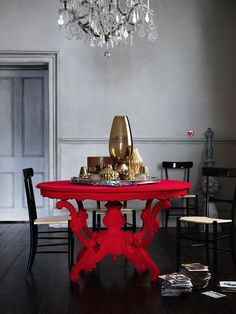 Viyet Style Inspiration | Dining Room | Eclectic interior design | Bold red table, black wood floors