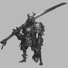 samurai, Shuohan Zhou on ArtStation at https://www.artstation.com/artwork/oxGlB