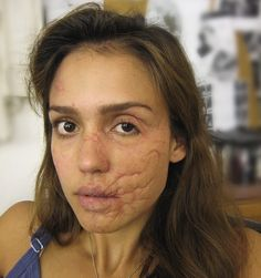 *THIS IS MAKEUP* Facial scar makeup on Jessica Alba from The Killer Inside Me. Prosthetics provided by Alterian Inc. Application by… Scar Makeup, Fx Makeup, Special Makeup, Special Effects Makeup, Maquillage Halloween, Halloween Makeup, Halloween Ideas, Makeup Inspiration, Character Inspiration