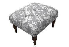 Alexander Tufted Ottoman, Gray Floral on OneKingsLane.com