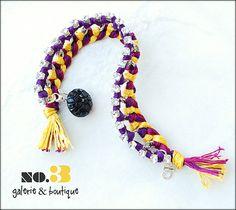 Handmade purple and gold bracelet