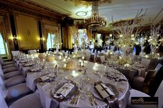 crystal and white table settings | Each place setting featured silver burst chargers (Classic Party ...