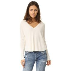 alice + olivia Bobbie Long Sleeve V Neck Sweater (26555 RSD) ❤ liked on Polyvore featuring tops, sweaters, off white, v-neck tops, roll top, v neck sweater, drop shoulder sweater and fitted sweater