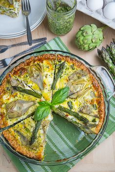 Asparagus, Baby Artichoke, Pesto and Goat Cheese Quiche with Quinoa Crust.