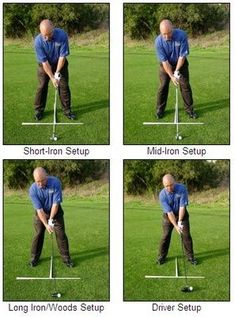 Golf Rules Putting it all together: good setup positions with different-length clubs. - Learn how to get a great golf setup position with this step-by-step guide to the stance that includes alignment, ball position, posture, balance, and more. Golf Stance, Golf Club Grips, Best Golf Clubs, Golf Videos, Golf Drivers, Golf Instruction, Golf Tips For Beginners, Perfect Golf, Golf Training