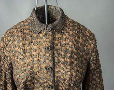 Vintage 1940's Ribbon Knit Suit Ladies, Retro 1940's Silk Ribbon Knit Jacket and Skirt, Vintage 1940's Copper Coloured Silk Ribbon Knit Suit