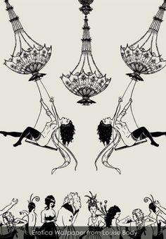 hoodoothatvoodoo: Erotic Wallpaper Design by Louise Body Painting Wallpaper, Cool Wallpaper, Queen Kate, Chinoiserie Wallpaper, Feature Wallpaper, Wall Treatments, Designer Wallpaper, Wall Design, Artsy