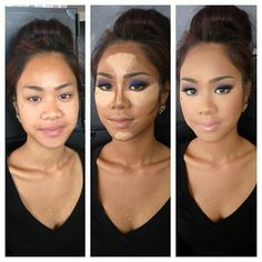 make up is magic 3 Glam! Makeup by Priscilla Ono. What you can do with make up is awesome Contouring Makeup, Contouring And Highlighting, Skin Makeup, Contouring Tutorial, Contouring Products, Light Contouring, Big Nose Makeup, Makeup Brushes, Best Contour Makeup