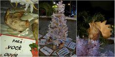 Ativistas montam árvore de Natal com com partes reais de animais