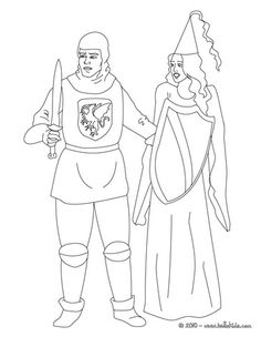 Knight and princess coloring page