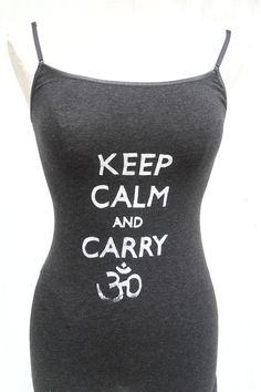 Graphite Keep Calm and Carry OM Yoga Tank  Small by waydownhere, $14.00