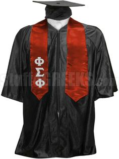 Cardinal red Phi Sigma Phi satin graduation stole with the Greek letters down the right panel.