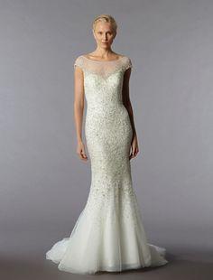 Bridal Gowns: Danielle Caprese Sheath Wedding Dress with Bateau Neckline and Natural Waist Waistline