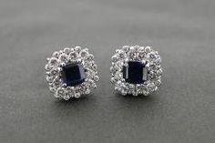 Sapphire cluster earrings #diamonds #sapphire #cork #platinumworksbespoke
