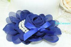 Frozen Flower Blue Sappire Chiffon Flower Frozen Fabric Flower Frozen inspired-Hair Bow Hairclip Flowergirl Wedding Bridal - DIY