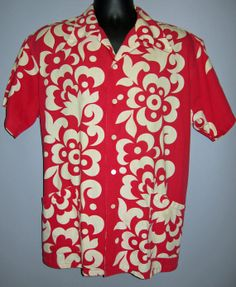 Vintage Hawaiian Shirt XL 1950's red white floral by rubyinthesky, $99.99