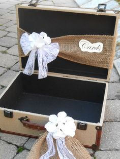Wedding Card Box / Burlap Suitcase Cardholder / by YesMoreFunk, $65.00