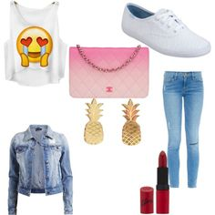 Swag? by micah101374 on Polyvore featuring polyvore fashion style VILA Frame Denim Keds Chanel Rimmel