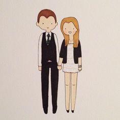 Adorable couple!! ;) #catplusmouse #customportrait #doodle #madewithpaper #fashionillustration #illustration