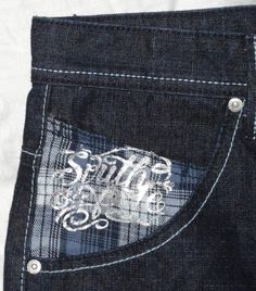 Southpole NWT Men's Hip Hop Ska Loose Embroidered Pocket Jeans Silver Size 34x32
