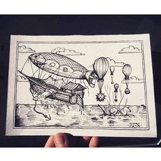 When someone drops #balloon #bombs at your #ship take advice from @ravenfromthenorth's #penandink #drawing and change it into an #airship! Really cool #inktober #illustration Kuba! I especially like the wicked face and the patches on the #blimp!