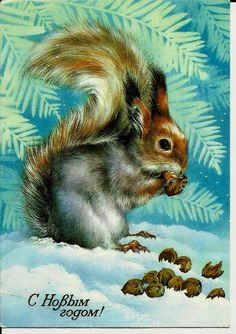 Squirrel - Vintage  Russian Postcard - Happy New Year - Christmas card by LucyMarket on Etsy