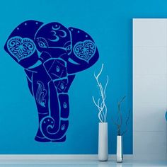 Indian Animals Elephant Om Sign Vinyl Sticker Home Art Wall Decor Bedroom Nursery Decor Sticker Decal size 22x30 Color Blue