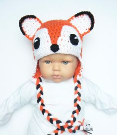 Baby Fox Hat 13-14 Cute Newborn Hat Baby Boy Baby Girl by 2mice