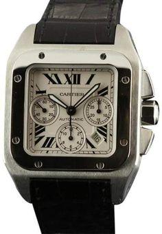 02212c6e9a623 Cartier Santos 100 XL W20090X8 Automatic Chronograph Leather Watch