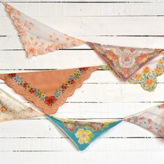 Wedding Garland - Vintage Hankie Bunting - Party Decoration - Altar Decoration - Yellow, Orange Turquoise Colors. $50.00, via Etsy.