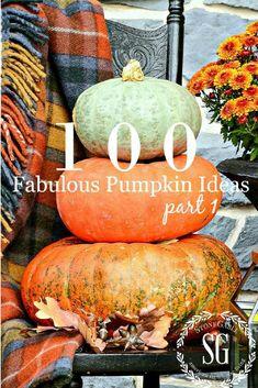 100 FABULOUS FALL PUMPKIN IDEAS, PART I    Pumpkins are the quintessential fall element! Let's use them in our fall decor in side and fall decor outside! Here's 100 fabulous fall pumpkin ideas. #fall #pumpkin #fallpumpkindecor #homedecorating #fall #autumn #falldecor #falldecorideas #fallinspo #cinderellapumpkin #greenpumpkin #minipumpkins #babyboopumpkin #falldecor #diyfalldecorideas #falltableideas #stonegable