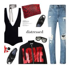 """Distressed Denim: pure rock"" by magdafunk ❤ liked on Polyvore featuring Christian Louboutin, Alexander Wang, Chanel, Givenchy, CÉLINE and Fallon"