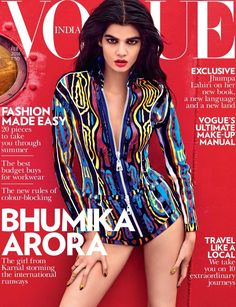 Rising star Bhumika Arora lands the February 2016 cover of Vogue India, wearing a print jacket and shorts from Louis Vuitton. Description from cloverdesain.com. I searched for this on bing.com/images