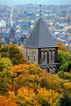 Saviour's Church St. Salvator, view from Lousberg's Belvedere, in Aachen, North-Rhine Westphalia_ Germany