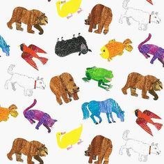 Brown Bear Animal Fabric by Eric Carle by neemerone on Etsy, $9.99