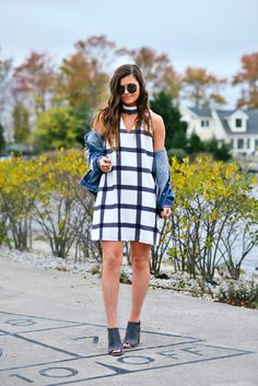 Checked Print Dress, Denim Jacket, Fall Outfit Ideas, Fall Fashion, Epica Clothing