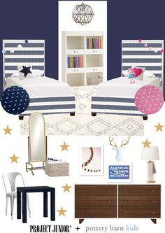Shared Room for a Boy and a Girl Design Board - love the adventurous + preppy feel of this kids room from @potterybarnkids! #projectsibling